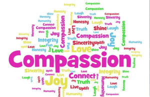 word cloud with compassion in center, immigration