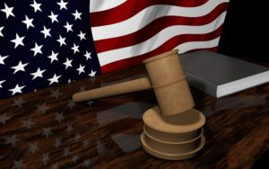 gavel with America flag, immigration
