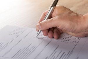 filling out a survey form