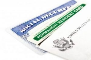 Green card and social security card