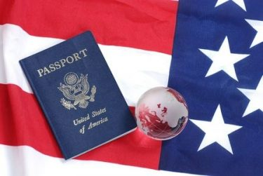 US passport and flag