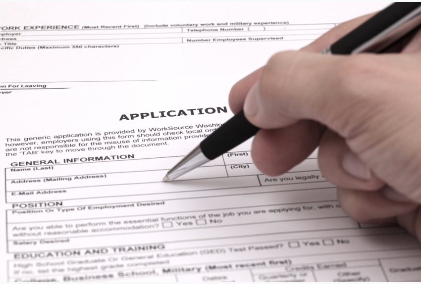 Filling out an application form