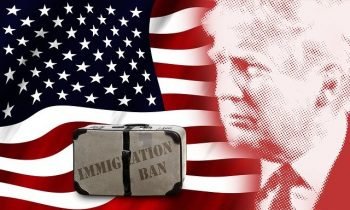 Trump portriot and immigration ban with American flag background