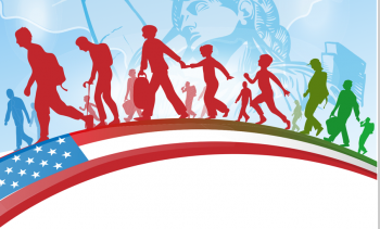 Silhouette of people crossing a bridge with American image on it, immigration