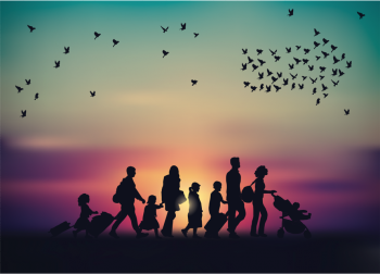 silhouette of families moving, immigrants migration